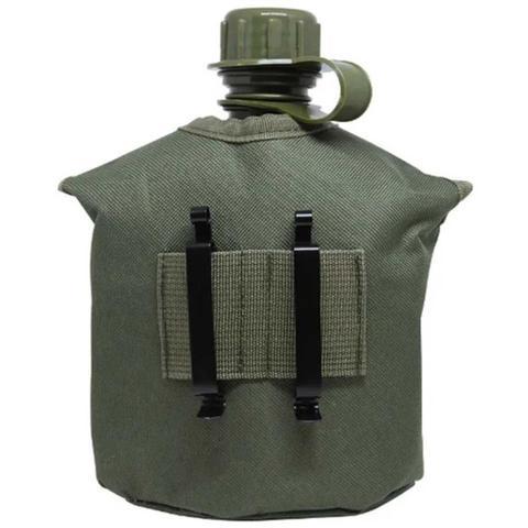 Imagem de Cantil Tático Militar C/ Caneca E Espiriteira Alumínio 1 Lt Verde