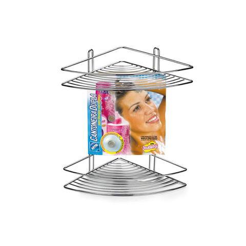 Imagem de Cantoneira Dupla em Aço com Ventosas 28x27cm Cromado