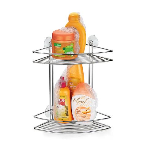 Imagem de Cantoneira Dupla para Shampoo com Ventosas Doublefix Arthi - Cromado