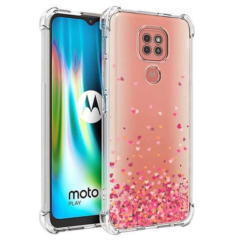 Imagem de Capa Anti Impacto Corações Rosa Motorola Moto G9 Play