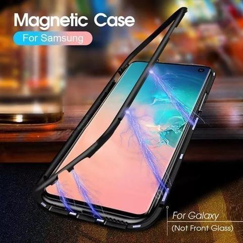 Imagem de Capa Bumper (Azul) C/ Vidro Traseiro Magnética Imã Samsung Galaxy S10+ Plus tela 6.4