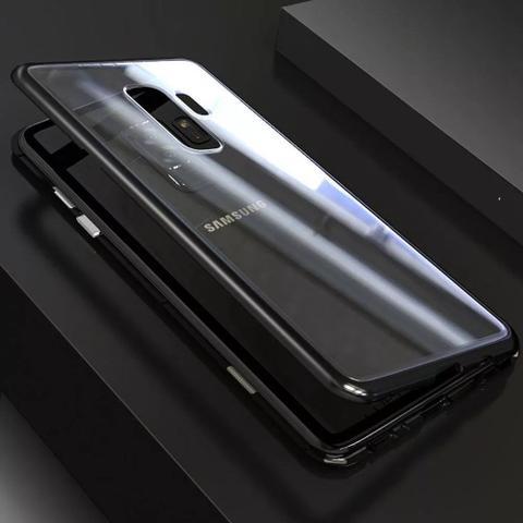 Imagem de Capa Bumper (PRETA) C/ Vidro Traseiro Magnética Imã Samsung Galaxy S9+ Plus G965 Tela 6.2