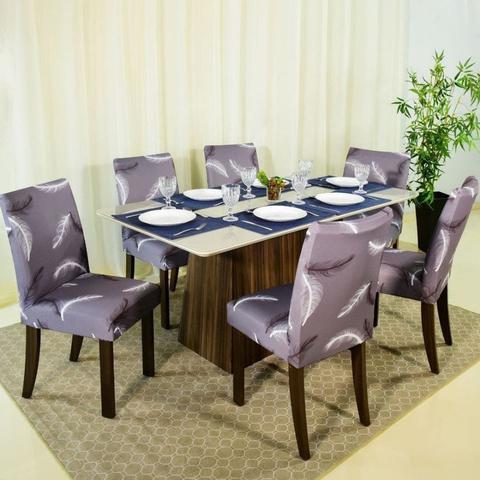 Imagem de Capa Cadeira p/ Mesa Sala de Jantar 6 Lugares Modern Leaf