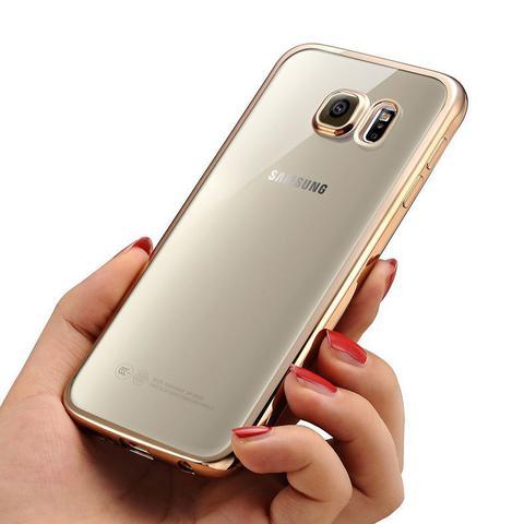 Imagem de Capa Capinha Case Silicone Samsung Galaxy J5 Prime Borda Dourada