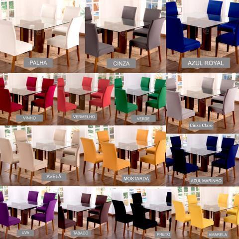Imagem de Capa de Cadeira Cozinha 6 Lugares Malha Gel Lisa