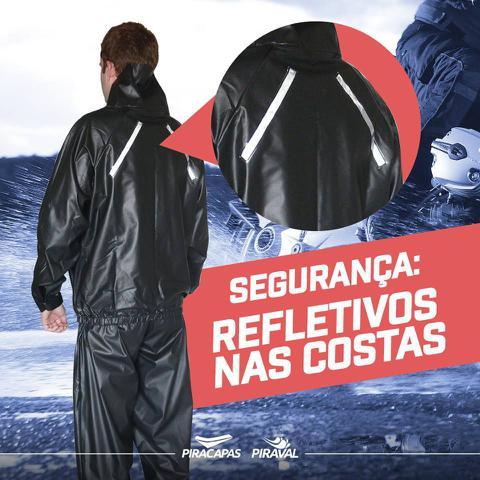 Imagem de Capa de Chuva Motoqueiro PVC ImpermeÃvel Preta Tamanho G