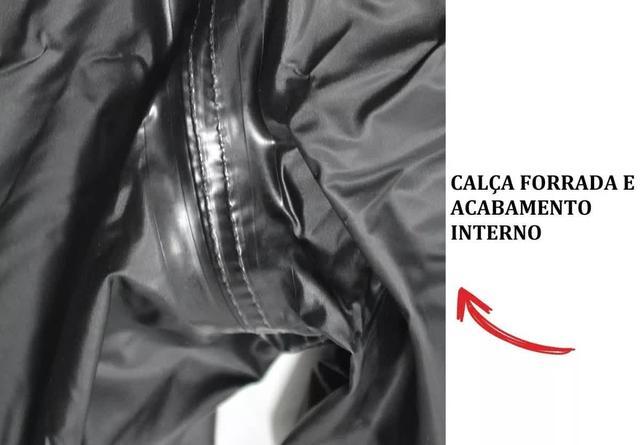 Imagem de Capa de Chuva PVC PRETA Motoqueiro Impermeável MASCULINO  - PiraCapas