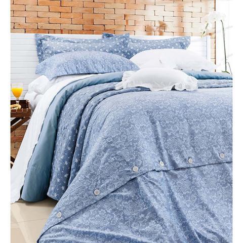 Imagem de Capa de Edredom (Duvet) Casal Queen Dolce Vitta 03 Peças 100 Algodão 400 Fios - Fio Egípcio - Azul