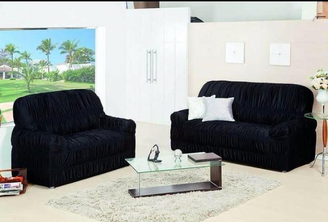 Imagem de Capa de Sofa 2 e 3 Lugares King Elasticada Malha Gel Azul Marinho