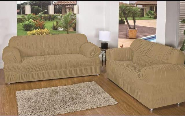 Imagem de Capa de Sofa 2 e 3 Lugares King Elasticada Malha Gel Bege