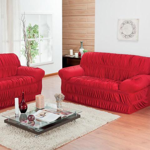 Imagem de Capa de Sofá 2 Lugares Elásticada Vermelho