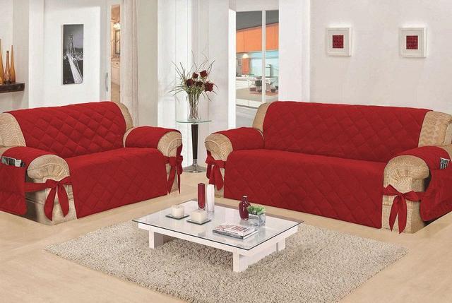 Imagem de Capa de Sofá Casa Dona Premium Vermelho Laço e Porta Controle 2 e 3 Lugares Poliéster