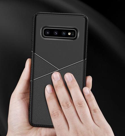 Imagem de Capa em gel com textura couro para Samsung Galaxy S10 PLUS - Preta