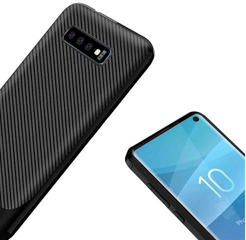 Imagem de Capa Em Gel Fibra De Carbono Para Samsung Galaxy S10e - Preta