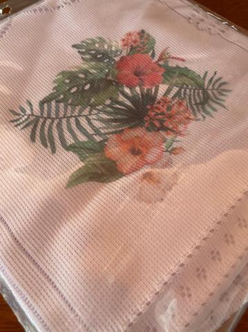 Imagem de Capa fogao 4 bocas 55x56cm flor de hibisco