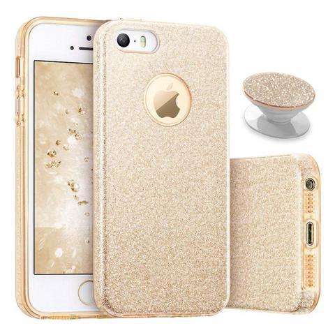 Imagem de Capa iphone 5s glitter 3x1 dourado com pop socket glitter