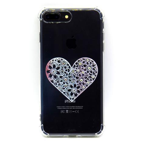 Imagem de capa iphone XR cristal estillo anti impacto feminina estampada coração branco