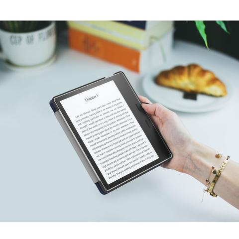 Imagem de Capa Kindle Oasis Wb Auto Liga/Desliga - Couro Premium Azul Marinho