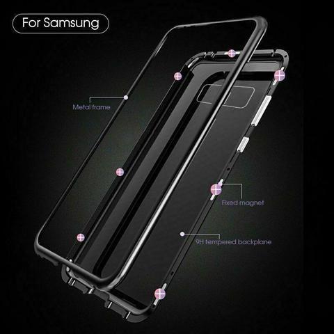 Imagem de Capa Magnética Galaxy S10 Plus Tela 6,4 Alumínio Premium Traseira de Vidro Temperado Preto