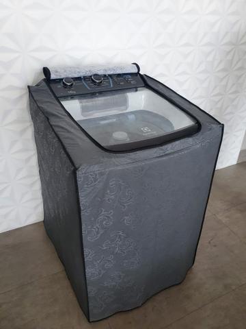 Imagem de Capa Máquina de Lavar Roupas Brastemp, Consul, Eletrolux Impermeável 12kg a 15kg Com ZIPER CINZA