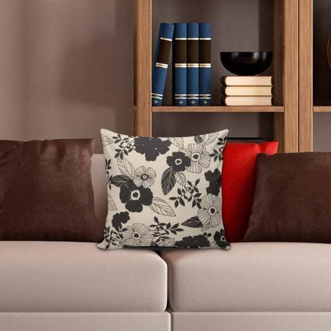 Imagem de Capa para Almofada Flores Preta e Bege 45x45cm