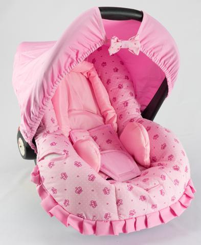 Imagem de Capa para Bebê Conforto Coroa Rosa com Acolchoado Extra