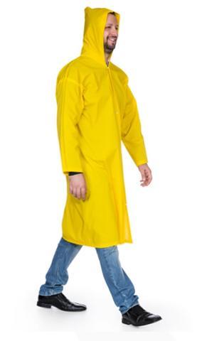 Imagem de Capa para Chuva Polietileno Forrada com Capuz e Mangas Amarela G