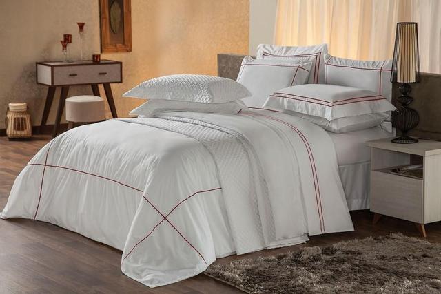Imagem de Capa para Edredom e Travesseiro King Duvet Premium Branco e Vermelho