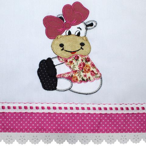 Imagem de Capa para Fogão 4 Bocas Bordado Vaca Sentada Pink