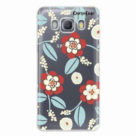 Imagem de Capa para Galaxy J7 Metal Blue Floral Transparente