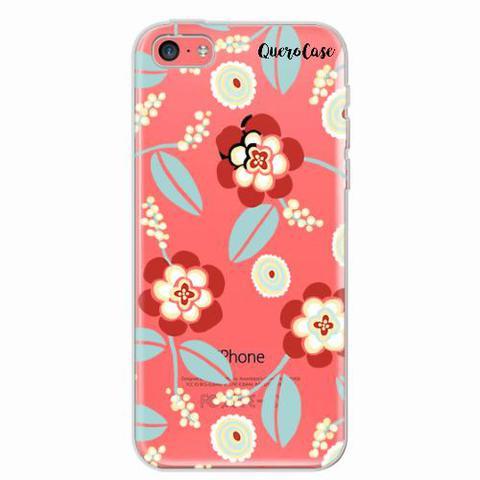 Imagem de Capa para iPhone 5C Blue Floral Transparente
