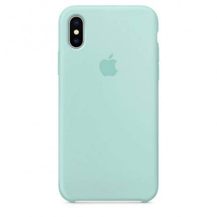 Imagem de Capa para iPhone XR Silicone Case Verde Água + Película de Vidro