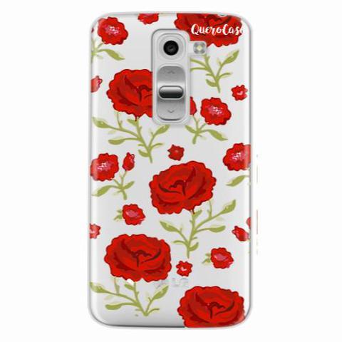 Imagem de Capa para LG K4 Rosas Vermelhas Transparente
