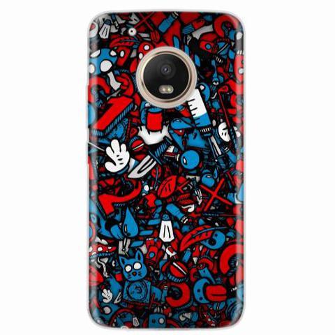 Imagem de Capa para Moto G5 Plus Graffiti Azul e Vermelho