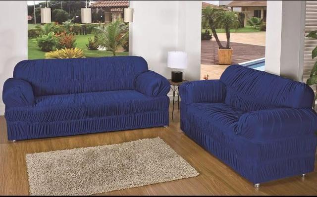 Imagem de Capa para Sofa 2 e 3 Lugares Padrão Elasticada Malha Gel Azul Escuro