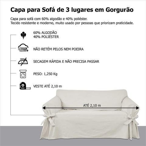 Imagem de Capa para Sofá de 3 Lugares em Gorgurão