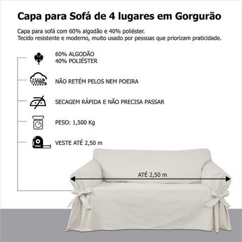 Imagem de Capa para Sofá de 4 lugares em Gorgurão Proteção Lisa Resistente Sala de Estar Lar Kids Pet Gato Cachorro