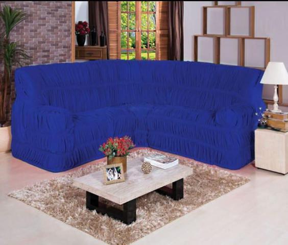 Imagem de Capa para Sofa de Canto Elasticada Até 6 Lugar Malha Gel Azul