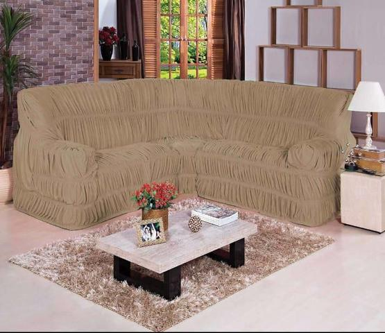 Imagem de Capa para Sofa de Canto Elasticada Até 6 Lugar Malha Gel Bege