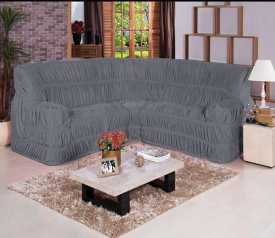 Imagem de Capa para Sofa de Canto Elasticada Até 6 Lugar Malha Gel Cinza