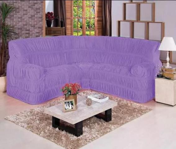 Imagem de Capa para Sofa de Canto Elasticada Até 6 Lugar Malha Gel Lilás
