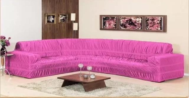 Imagem de Capa para Sofa de Canto Elasticada Até 6 Lugar Malha Gel Rosa
