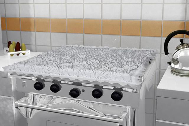 Imagem de Capa para tampa fogão 4 bocas renda
