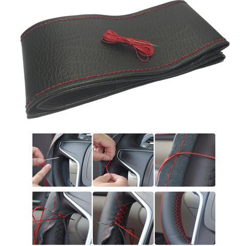 Imagem de Capa para Volante de Couro Artificial Resistente e Confortável Preto com Costura Vermelha