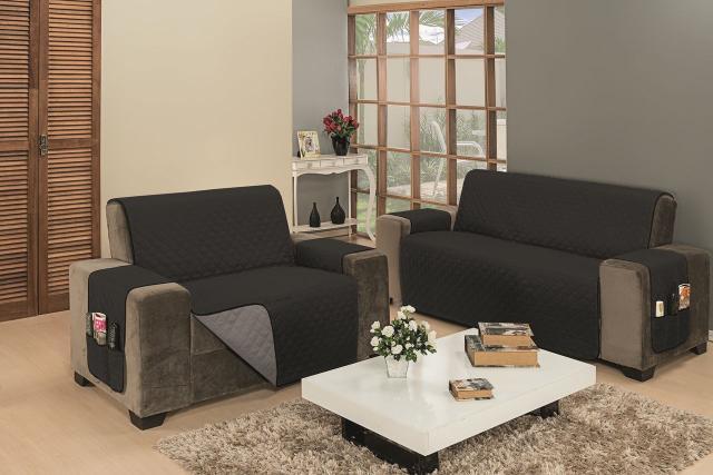 Imagem de Capa Protetor Para Sofa 2 E 3 Lugares Impermeável Macia Cinza Preto