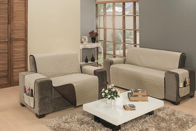 Imagem de Capa Protetor Para Sofa 2 E 3 Lugares Impermeável Macia Marrom Caqui