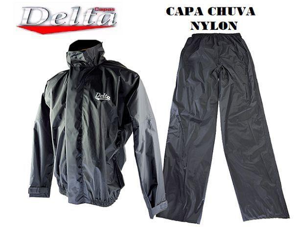 Imagem de Capa Roupa Chuva Vestimenta Vestuário Jaqueta Calça Delta Nylon Preta Moto Motoqueiro