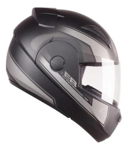 Imagem de Capacete Articulado de Moto Ebf E8 Drift Prata Fosco (Robocop) Tam: 60