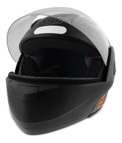 Imagem de Capacete Articulado de Moto Ebf E8 Solid Preto Fosco (Robocop)