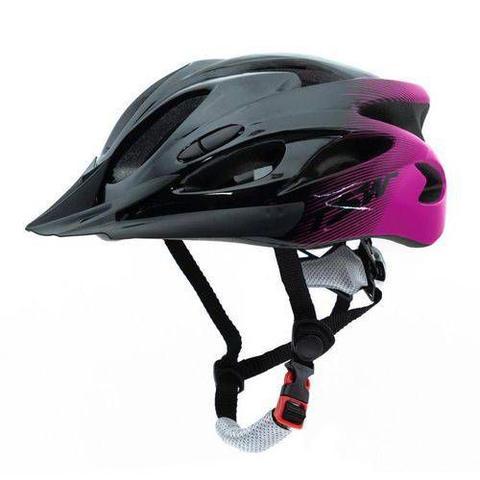 Imagem de Capacete Ciclismo TSW Mtb Raptor Led e Viseira M Regulagem 54/58 Cm Preto e Rosa